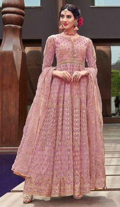 4a8d627db4 Vivacious Pink Color Net Designer Long Abaya Style Salwar Kameez  #salwarkameez #anarkalisuit #designersalwarkameez. heenastyle.com