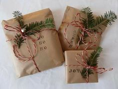I'll be wrapping all our Christmas presents in brown craft paper this year! Can't wait! So cute!