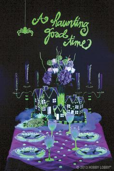 It's an elegant party when the sun is in the sky. But turn out the lights…and this shindig will merit some serious shivers! Change an ordinary tablescape into hair-raising Halloween décor with help from our fabulous glow-in-the-dark paints.