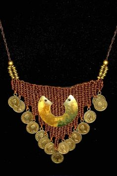 """Good Fortune"" - 2010 - Adjustable length, SOLD. Woven by Terri Scache Harris, theravenscache.shutterfly.com Hand woven, handwoven, weaving, weave, needleweaving, pin weaving, woven necklace, fashion necklace, wearable art, fiber art."