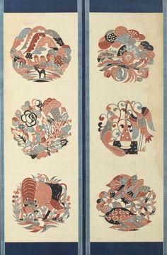 伊曽保物語屏風(部分) 4曲1隻 紬、型染 1932年 Japanese Patterns, Japanese Design, Japanese Art, Okinawa, Graphic Design Illustration, Textile Art, Art Photography, Oriental, Arts And Crafts