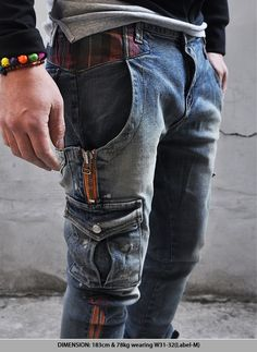 Bottoms :: Spandex Zippered Opening Cargo-Jeans 60 - Mens Fashion Clothing For An Attractive Guy Look Jeans Cargo, Denim Pants, Denim Fashion, Fast Fashion, Fashion Men, Apocalypse Fashion, Mode Jeans, Tactical Clothing, Attractive Guys