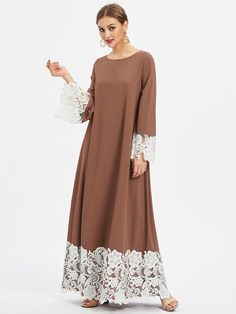 SheIn offers Floral Lace Detail Kaftan Dress & more to fit your fashionable needs. Abaya Fashion, Muslim Fashion, Fashion Dresses, Mode Abaya, Mode Hijab, Trendy Dresses, Simple Dresses, Fall Dresses, Abaya Designs