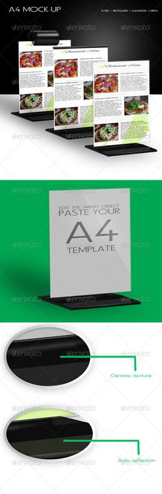 A4 Mock-up     a single A4 format mockup, using smart objects to place and render any image in to a photo realistic. You can use it to showcase Flyers, Calendar, Menu or any A4 sized template, with just few steps:  Double click the Smart Object – Place your template – Save – Done!