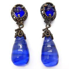 Vintage Yves Saint Laurent Rive Gauche Blue Glass & Lucite Drop Earrings | Clarice Jewellery | Vintage Costume Jewellery