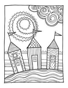 KPM Doodles Coloring page Beach houses por kpmdoodles en Etsy
