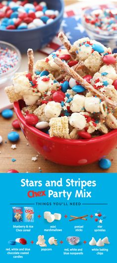 Get the party started with Stars and Stripes Chex Party Mix! Ready to serve in 15 minutes, this simple recipe is made with Blueberry Chex and festive sprinkles that will have everyone cheering at your patriotic celebration!