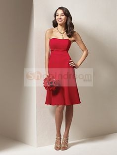 A-line square strapless satin short red bridesmaid dress
