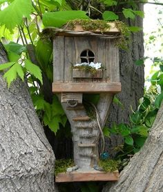 Fairy Garden Tree Houses! could make it into a bird house