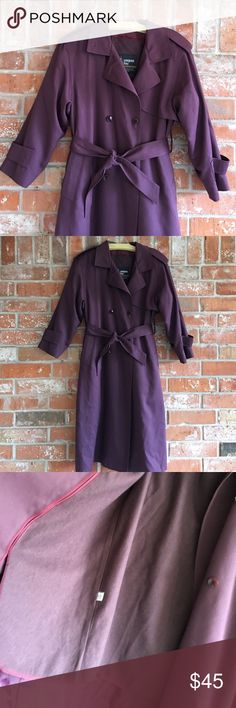 """Beautiful Trench Coat By London Fog EUC This jacket is like new. It does run big so use measurements as your guide. It measures 21"""" underarm to underarm and is 44"""" long. The tag says 8P but it will fit larger sizes. The length really isn't petite to me either. 😘 it has a detachable lining. Like new and the eggplant color is so pretty! 💕💕 London Fog Jackets & Coats Trench Coats"""