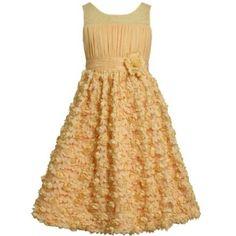 Amazon.com: Bonnie Jean TWEEN GIRLS 7-16 ORANGE YELLOW DIECUT MINI ROSETTE ILLUSION MESH OVERLAY Special Occasion Wedding Flower Girl Party Dress: Clothing