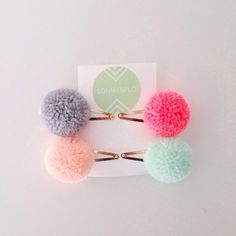 Large pompom hair clips by SONNYANDFLO on Etsy