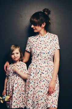 Matching Mother and Me Dresses - Chili Pepper Print Dresses - Mother's Day Dresses - Twinning Dresses - Handmade by OFFON