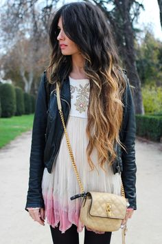 making a little white dress very casual for winter with denim (could use leather) and black tights