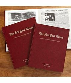 """Personalized NYT Football History Book-New York Jets by Personal Creations. $64.99. Relive The Highlights And History Of Your Favorite Football Team, As Reported By Leading Sports Writers And Eyewitnesses. Book Contains Approx. 150 Pages Of Team Coverage From The New York Times - From The Team's Early Beginnings Right Through The 2010 Season. We Hot Stamp The Leatherette Cover In Gold With Any Message On 1 Line, Up To 22 Characters. """"Researched For And Presented To"""" W..."""