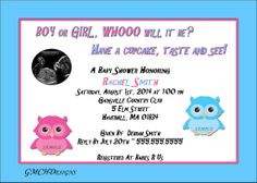 Cute Owl Baby Shower Gender Reveal by cupcake by GMCHDesigns, $8.00
