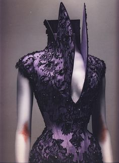 Alexander McQueen: Savage Beauty Photographed by Sølve Sundsbø, Alexander McQueen Autumn/Winter 1996-97  Corset, Dante  Lilac silk appliquéd with black silk lace and embroidered with jet beads