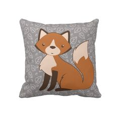 Cute Fox on Leaf and Acorn Pattern Throw Pillows