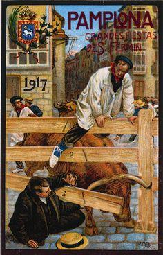 Cartel de los Sanfermines de 1917 - Ferias y fiestas de San Fermín, Pamplona :: Autor: Javier Ciga.