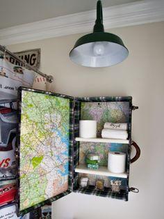 Salvaged suitcase turned medicine cabinet - Love it!