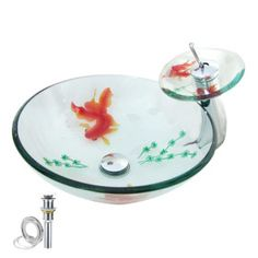 Victory Round Transparent Tempered glass Vessel Sink With Waterfall Faucet,Mounting Ring and Water Drain(0917-VT4010)