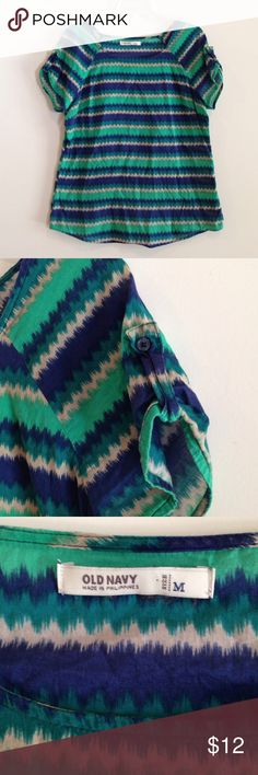 Old navy blue, green & cream striped blouse 100% cotton. Button tab sleeves. Extremely lightweight material. Old Navy Tops Blouses