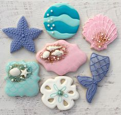 9da213e3258 Mermaid Cookies Cookies By Brooke Seashell