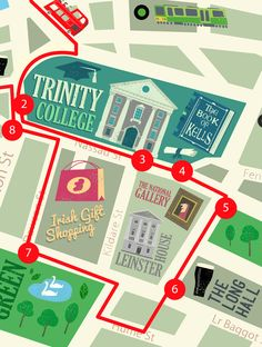 Feature wall map snippet at the Dublin Visitor Centre