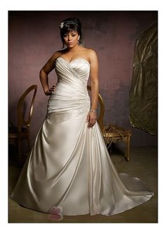 Gorgeous Satin Princess Strapless Sweetheart Neckline Plus Size Wedding Dress With Lace Appliques,Beadings and Manmade D W2065