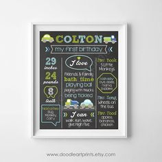 First Birthday Chalkboard Poster Sign  Baby Boy by DoodleArtPrints