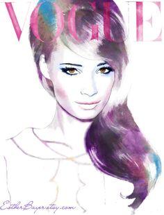 Amethyst and Amber - Watercolor Fashion Illustration Fine Art Print Vogue Latin America Cover. $32.50, via Etsy.