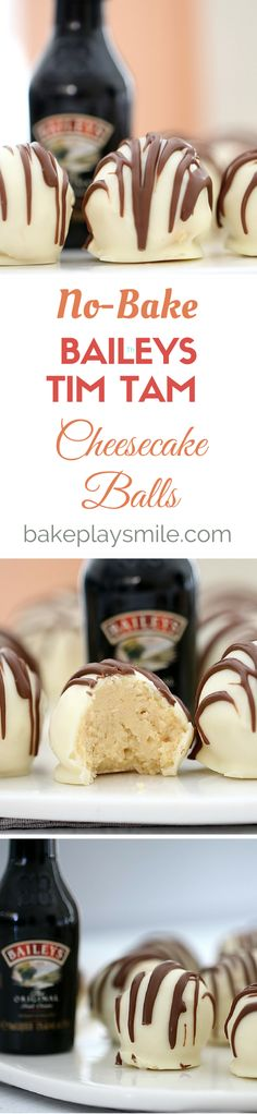 4 ingredient, no-bake Baileys Tim Tam Cheesecake Balls (xmas food breakfast) Candy Recipes, Sweet Recipes, Baking Recipes, Dessert Recipes, Tim Tam Cheesecake, Cheesecake Recipes, Baileys Cheesecake, Baileys Fudge, Kahlua Cake