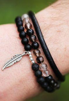 Özel Tasarım Doğal Taş, Deri Kombin Erkek Bileklik EB12 - Men Bracelet