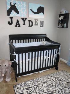 Project Nursery - Boy Monogrammed Safari Nursery Crib - love the blue and black together...