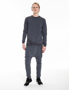 Model is wearing grey set: dropped crotch patns & Modern Samurai sweatshirt
