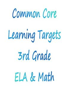 This pack includes Learning Targets for Common Core Standards for 3rd grade for both ELA and math. The Learning Targets are written in student frie...