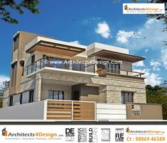 House Elevation With Compound Wall Building Elevation, House Elevation, Front Elevation, Modern Bungalow House, Duplex House, Modern House Design, 1200 Sq Ft House, Philippine Houses, Indian House Plans
