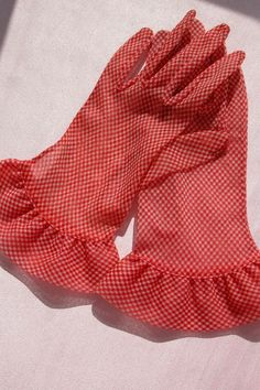 1940's Rayon Gloves w/ Red & White Checkers - Vintage Red Dress Gloves ---- For sale on Ruby Lane