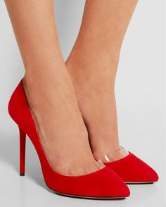 CHARLOTTE OLYMPIA Party Monroe PVC-trimmed Suede Pumps | Buy ➜ http://shoespost.com/charlotte-olympia-party-monroe-pvc-trimmed-suede-pumps/