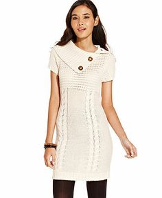 Pink Rose Juniors Dress, Short Sleeve Cable-Knit Sweater