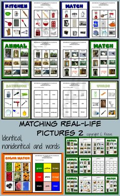 File folders that use real photos of everyday vocabulary for matching identical photos, nonidentical pictures and pictures to words.  Great for ABA instruction and TEACCH structured work systems #vocabulary #autism #lifeskills