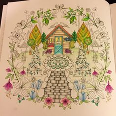 Joyous Blooms To Color Adult Coloring Book Completed Page Beautiful World
