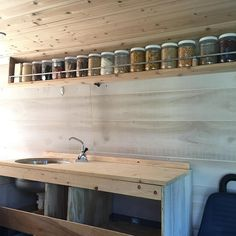 The new floating kitchen pantry is finished! Remodeled with cedar instead of the original birch. Idea inspired from @borealfolk apothecary shelf #vanconversion #cedarshelf #selfbuilt#myvanobsession