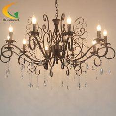 504.29$  Watch here - http://aliz8d.worldwells.pw/go.php?t=32660704618 - European-style luxury crystal chandelier living room Villa chandelier vintage wrought iron garden restauran chandelier 504.29$