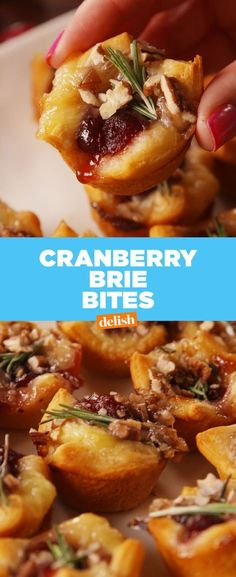 Cranberry Brie Bites - Delish.com ...these'll be the first appetizer to get gobbled up at any holiday party! Finger Food Appetizers, Holiday Appetizers, Yummy Appetizers, Appetizer Recipes, Party Appetizers, Party Snacks, Party Party, Brie Bites, Thanksgiving Recipes