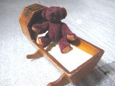 Antique Mauchline Wood Cradle Souvenir Holyrood Palace Scotland with Teddy Bear
