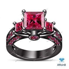 Princess Cut Gemstone In 925 Silver Three Stone Women Engagement Ring Size 5-12 #Affoin8 #ThreeStoneEngagementRing