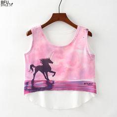 5be1090606ef81 Multi Colors T-Shirts Print Women Tank Tops Black Unicorn Camis Camisoles  Totem Elephant Tanks Short Tees Irregular Crop Top