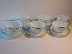 6 Vintage Pyrex Corning Decor Dinnerware Aqua/Turquoise Tea/Coffee Cups & Saucers, Vintage Restaurant Ware, Turquoise Kitchen, Retro Kitchen by BessyBellBooks on Etsy