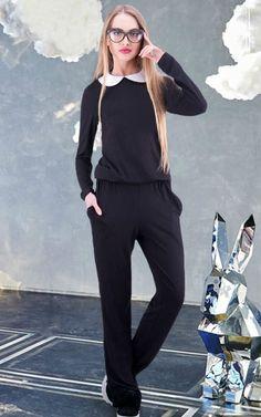 f3920adb48a2 Black jumpsuit Office black jumpsuit Autumn jumpsuit Winter black Business women  overalls Classic jumpsuit Office overalls Peter Pan collar